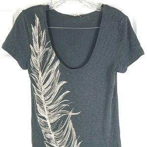 J. CREW gray beaded feather short sleeve tee shirt